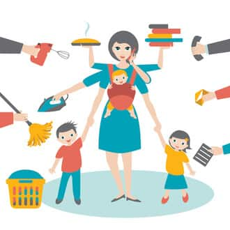 Multitasking mom illustration