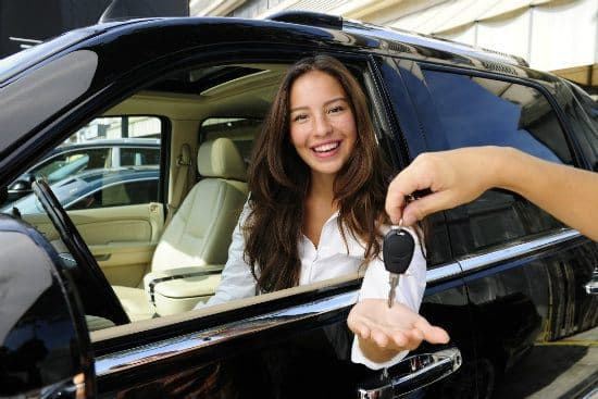 Woman getting car keys