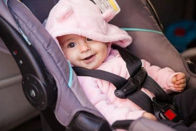 Child in infant car seat